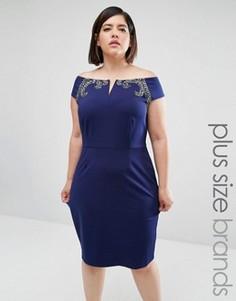 Облегающее платье Little Mistress Plus - Темно-синий