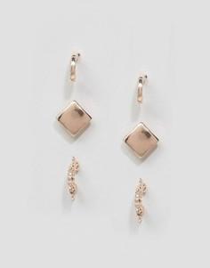 Серьги-гвоздики и серьги-кольца DesignB London - Золотой