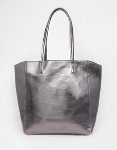 Сумка-шоппер цвета металлик ASOS - Серый