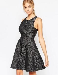Короткое приталенное платье из жаккарда со звериным принтом Hedonia Luara - Серый