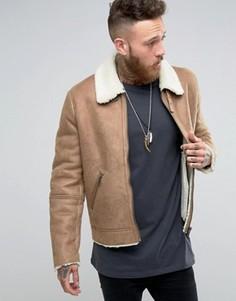 Бежевая куртка с искусственной овечьей шерстью ASOS - Бежевый