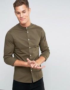 Облегающая рубашка цвета хаки с воротником на пуговицах ASOS - Зеленый