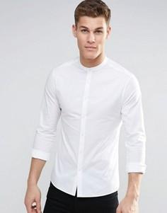 Белая рубашка скинни с воротником на пуговице и длинными рукавами ASOS - Белый