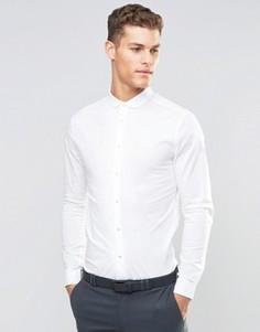 Зауженная белая рубашка с закругленным воротником и длинными рукавами ASOS - Белый