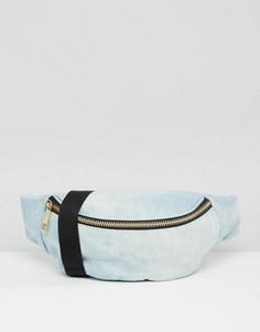 Джинсовая сумка-кошелек на пояс с принтом тай-дай ASOS - Синий