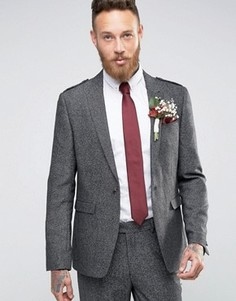 Приталенный твидовый пиджак с эполетами ASOS WEDDING - Серый