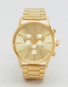 Золотистые часы с хронографом Nixon Sentry - Золотой