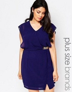 Платье размера плюс с запахом Lovedrobe - Темно-синий