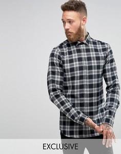 Рубашка скинни со срезанным воротником и принтом тартан Heart & Dagger - Черный