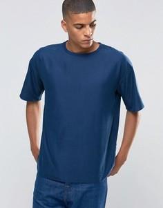 Тканая хлопковая футболка с круглым вырезом ADPT - Темно-синий