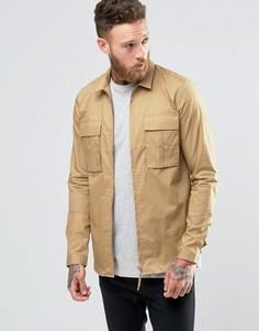 Бежевая куртка-рубашка стандартного кроя на молнии в стиле милитари ASOS - Бежевый