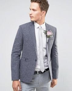 Серый зауженный блейзер в крапинку ASOS WEDDING - Синий