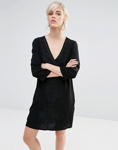 Цельнокройное платье с глубоким v-образным вырезом и вышивкой See U Soon - Черный