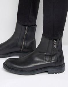 Кожаные ботинки с двумя молниями Walk London Maida Vale - Черный