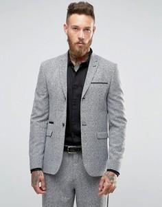 Облегающий пиджак в клетку ASOS - Серый