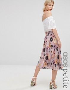Плиссированная юбка миди с цветочным принтом ASOS PETITE - Мульти