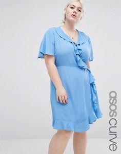 Платье мини с запахом и рюшами ASOS CURVE - Синий