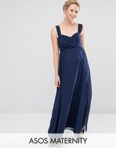 Шифоновое платье макси для беременных ASOS Maternity WEDDING - Синий