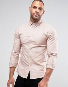 Оксфордская рубашка скинни в стиле casual от ASOS - Розовый