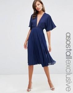 Плиссированное платье миди с рукавами-кимоно ASOS TALL - Синий
