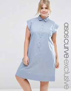 Повседневное платье-рубашка из хлопка ASOS CURVE - Синий