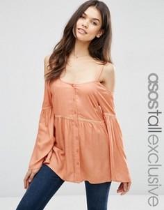 Топ на пуговицах с открытыми плечами ASOS TALL - Оранжевый