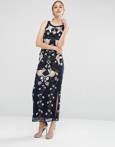 Платье макси с вышивкой и отделкой бисером Frock and Frill - Темно-синий