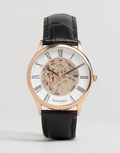 Часы с черным кожаным ремешком и открытым механизмом Sekonda эксклюзивно для ASOS - Черный