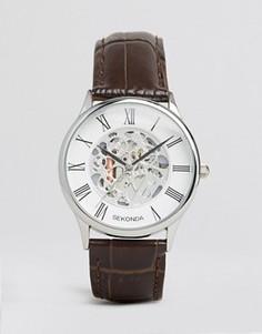 Часы с коричневым кожаным ремешком и открытым механизмом Sekonda эксклюзивно для ASOS - Коричневый