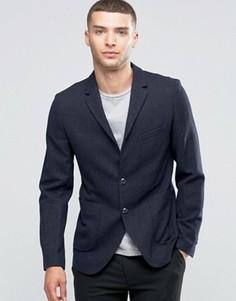 Пиджак узкого кроя с добавлением шерсти с накладными карманами Sisley - Темно-синий
