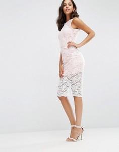 Кружевное платье миди с фигурным краем ASOS - Розовый