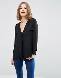 Однотонная блузка в пижамном стиле ASOS - Черный