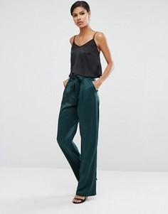 Мягкие брюки с завязкой на талии ASOS - Зеленый