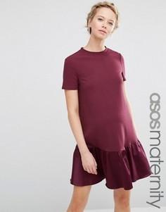 Цельнокройное платье для беременных с баской ASOS Maternity - Красный