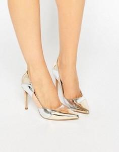 Туфли-лодочки цвета металлик с острым носком в стиле пэчворк Dune Azzra - Мульти