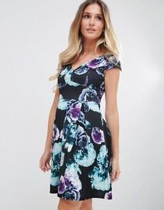 Короткое приталенное платье с цветочным принтом Jessica Wright - Черный