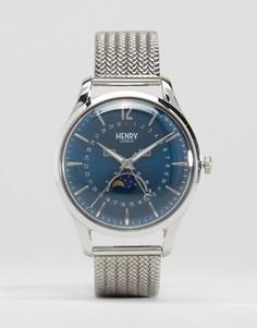 Часы с окошками даты и лунных фаз Henry London Knightsbridge - Серебряный