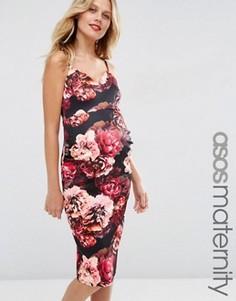Платье миди для беременных с глубоким вырезом и цветочным принтом ASOS Maternity - Мульти