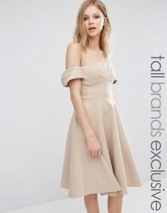 Платье миди для выпускного с открытыми плечами и пышной юбкой True Decadence Tall - Рыжий