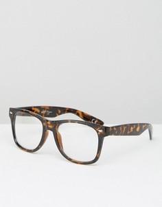 Черепаховые очки с прозрачными стеклами Jeepers Peepers - Коричневый