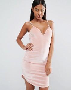 Бархатное платье‑сорочка Boohoo - Розовый