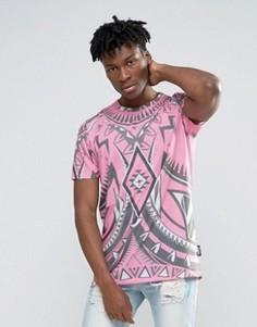 Длинная футболка с принтом калейдоскоп Jaded London - Розовый