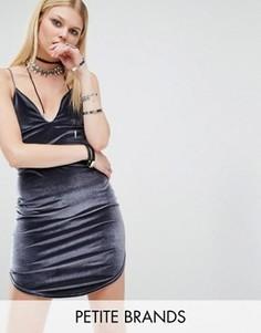 Бархатное платье-комбинация Boohoo Petite - Серый