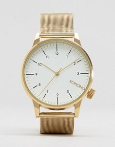 Золотистые часы с сетчатым ремешком Komono Winston Royale - Золотой