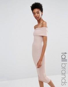 Облегающее платье в рубчик с широким вырезом Missguided Tall - Розовый