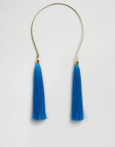 Ожерелье с шелковыми кисточками Suzywan - Синий