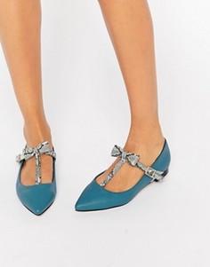 Балетки с острыми носками ASOS LOGAN - Синий
