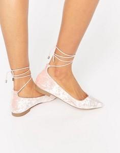 Бархатные балетки с острым носком ASOS LET IT GO - Розовый