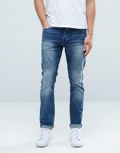 Классические выбеленные эластичные джинсы слим Only & Sons - Синий