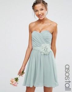Шифоновое платье‑бандо мини со съемным цветочным украшением ASOS TALL WEDDING - Серый